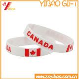 Wristband del silicone della bandierina del Canada della stampa di matrice per serigrafia di colore solido (XY-ST-013)