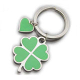 Keyrings macios do verde do esmalte da forma do coração