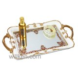 Plateau de vanité d'or, décoration de maison de plateau de parfum