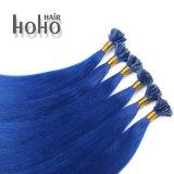 Remy Hair 14 pol ponta da unha de cor azul de extensão de cabelo humano