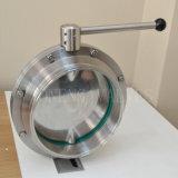 Manual de sanitários em aço inoxidável Válvula Borboleta com alça