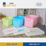 Recipiente plástico de armazenamento fácil colorida caixa de armazenamento