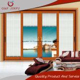 Liga de alumínio do estilo americano e porta deslizante de vidro com obturadores/cortinas