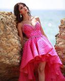 Шнурка мантии lhbim платье партии G02 выпускного вечера вечера Fuchsia официально Hi-Низкое