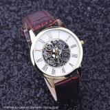 Couro Mecânica de moda ver relógios de quartzo de negócios homens relógios de desporto