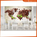世界パターン台所装飾の喫茶店3Dの油絵の特別なデザインコーヒー豆のマップ