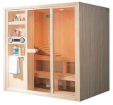 Sala de madera tradicional de la sauna / cabina con la radio del reproductor de CD (A-806)