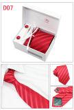 卸売のタイのギフト用の箱セットメンズジャカードによって編まれるポリエステルタイのハンカチのカフスボタンタイピン(T05/07/08/09)