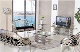 Blocco per grafici dell'acciaio inossidabile di Serie della mobilia del salone Sj930 e della sala da pranzo con vetro Tempered
