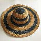 Мода большой женщин летом Red Hat Sun широкий края бумаги Red Hat соломы с круглыми полосой (HW061)