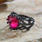 El rodio Platin negro G joyería de plata Anillo con corazón rojo cortar Cubic Zircon