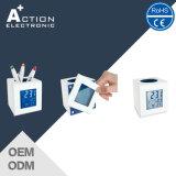 Синий светодиодный индикатор Cube поощрения контейнер пера Будильник для детей