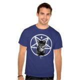거꾸로 한 교차하는 Pentagram 고양이 t-셔츠