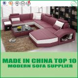 Sofá de couro secional moderno da forma de U para a sala de visitas