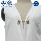 Robe de soirée de mode blanche sans manche de V-Collet longue avec le Pin