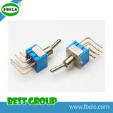 Interruptor de alternância em miniatura de alavanca plana plástica de 3 pinos