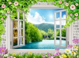 Окно осматривает картину маслом стены 3D свежего воздуха