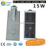 15W zonneStraatlantaarn met LEIDENE Verlichting