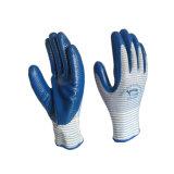 Les gants fonctionnants de sûreté de doublure de polyester enduits par nitriles de gants de zèbre dirigent de l'usine