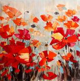 De met de hand gemaakte Rode Olieverfschilderijen van het Gebied van de Bloem voor het Decor van de Muur