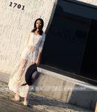 여자 꽃 레이스 크로셰 뜨개질 우연한 긴 소매 See-Through 블라우스 상단 셔츠