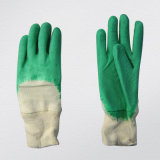 Зеленая перчатка латекса с открытым назад вяжет резину Glove-5211 запястья руки. Gn