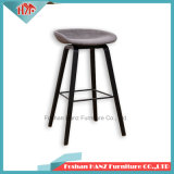 Tabouret de bar Barre de foin de tissu chaise avec coussin de base en bois noir