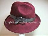 Chapéu de inverno chapéu de feltro de lã de moda com borda irregular e a banda de couro para Mulheres