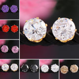 CZのスタッドのイヤリングが付いている女性18kの金の宝石用原石の水晶宝石類のためのEarings