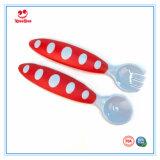 2 PCS/Set bunte sichere Wegwerfplastikbaby-Löffel-Gabel