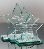 Runde Form-Jade-Grün-Kristallglas-Preis und Trophäe