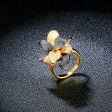 검정과 금 색깔 꽃 인공적인 칵테일 반지 보석