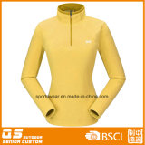 Moda feminina metade Zipper Micro Fleece Jacket