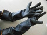 Haushalt, der lang wasserdichter chemischer beständiger schwarzer Latex-industriellen Handschuh (, bearbeitet Naturkautschuk)