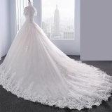 La última Puntilla vestido de novia con manga corta y larga en tren (18528#)