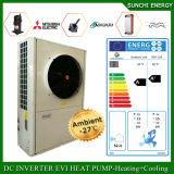 Amb。 -25cの冬の床暖房100~300sqのメートル部屋12kw/19kw/35kwは屋内空気水ヒートポンプのEviの分割されたCondensorの自動霜を取り除く
