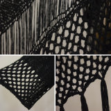 Frauen-Form-Schwarz-Franse gestrickte Wolljacke