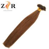 ブラウンカラー自然な引かれたモンゴルの毛のRemyの毛のKeratainの毛