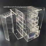 Caixa acrílica da jóia com 5 gavetas e os 2 compartimentos de suspensão