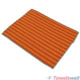 オレンジ縞のMicrofiberの台所皿タオル