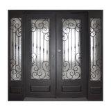 Portelli di entrata quadrati su ordinazione del ferro di disegno di lusso bei con i Sidelights