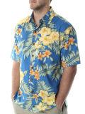 Силы 100% хлопок мужчин в короткие втулки гавайских рубашек
