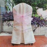 水晶ピンクの吹流しのリボンのサッシュYc-091が付いているホテルの宴会表そして椅子カバー