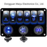 6 Interrupteur à bascule de gang de voltmètre numérique du panneau de prise de courant 12V