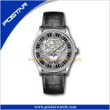 Montre-bracelet en cuir noire mécanique automatique squelettique multifonctionnelle de bande