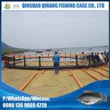 円の水産養殖の魚のケージを開く深海