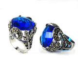 Кольцо нержавеющей стали диаманта CZ ретро конструкции голубое большое