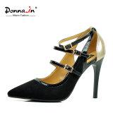 Pointed-Toe女性ハイヒールバックルストラップの女性のパッチワークの革服靴