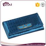 Самый последний бумажник для женщин, голубой бумажник неподдельной кожи конструкции 2017 могущественный крокодила