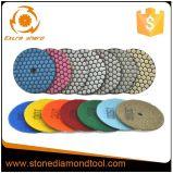 Garniture de polonais sèche de granit de diamant de Velcro de 4 opérations de pouce 7